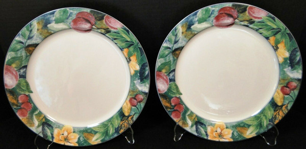 """Mikasa Ultima Plus Fruit Collage Dinner Plates 10 3/4"""" HK 107 Set of 2 