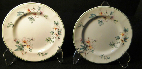 """Adams Azalea Bread Plates 6 1/4"""" English Stoneware Green Set of 2 