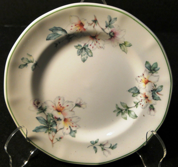 """Adams Azalea Bread Plate 6 1/4"""" English Stoneware Green 