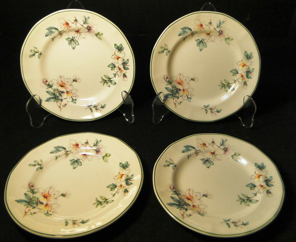 """Adams Azalea Bread Plates 6 1/4"""" English Stoneware Green Set of 4 