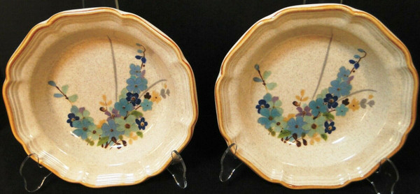 "Mikasa Blue Sonnet Soup Bowls 8 1/2"" Garden Club EC407 Japan Set of 2 