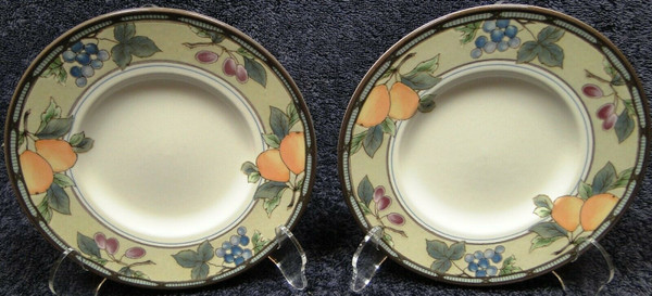 "Mikasa Garden Harvest Intaglio Saucers Bread Plates 6 1/2"" CAC29 Set 2 