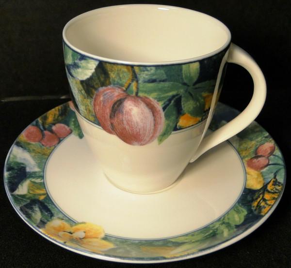 Mikasa Ultima Plus Fruit Collage Tea Cup Mug Saucer Set HK 107   DR Vintage Dinnerware and Replacements