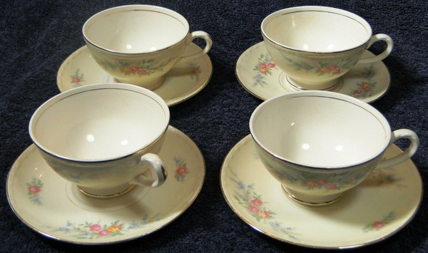 Homer Laughlin Eggshell Georgian Cashmere Tea Cup Saucer Sets 4 | DR Vintage Dinnerware Replacements