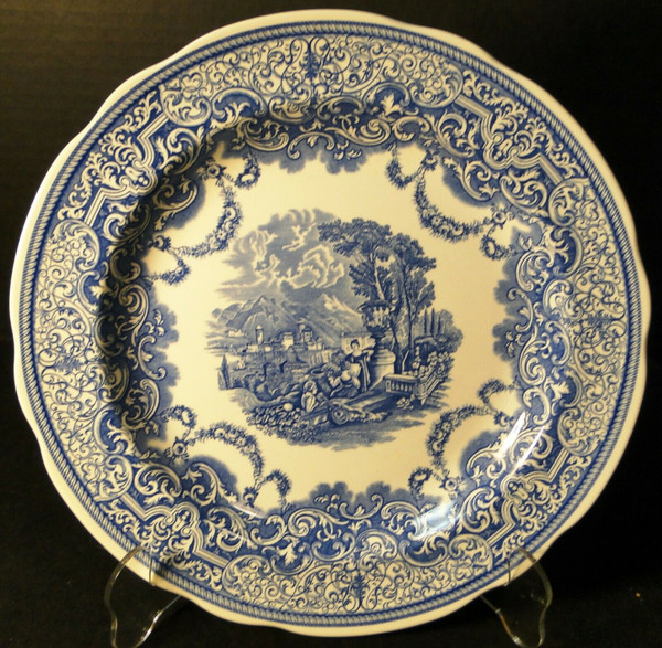 """Spode Blue Room Collection Dinner Plate 10 3/8""""  Continental Views 
