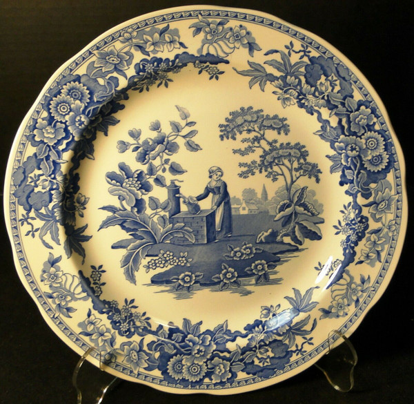 "Spode Blue Room Collection Dinner Plate 10 3/8"" Girl at Well 