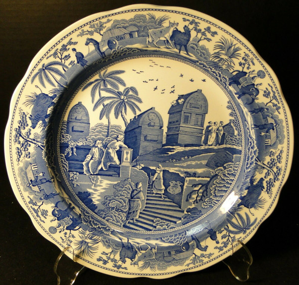 "Spode Blue Room Collection Dinner Plate 10 3/8"" Caramanian 