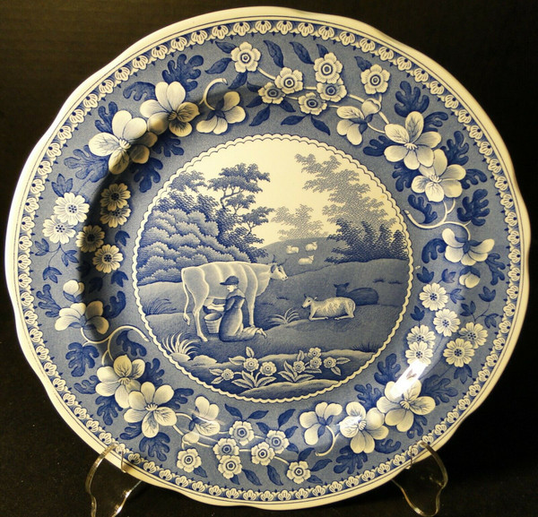"""Spode Blue Room Collection Dinner Plate 10 3/8"""" Milkmaid Traditions   DR Vintage Dinnerware and Replacements"""