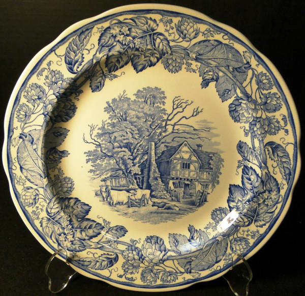 """Spode Blue Room Collection Dinner Plate 10 3/8""""  Rural Scenes 
