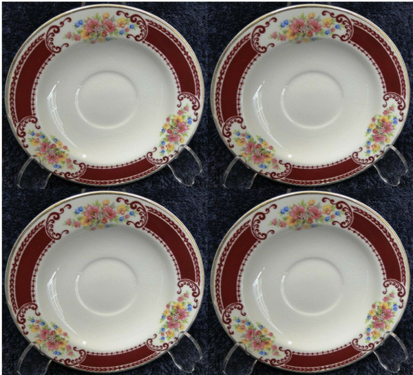 Homer Laughlin Brittany B1315 Saucers Gold Trim Set of 4 Rare | DR Vintage Dinnerware and Replacements