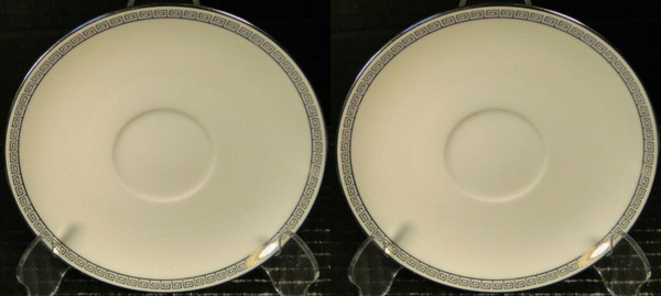Noritake Silver Key Saucers 5941 White Platinum Trim Set of 2 | DR Vintage Dinnerware and Replacements