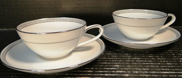 Noritake Silver Key Tea Cup Saucer Sets 5941 White Platinum Trim 2   DR Vintage Dinnerware and Replacements