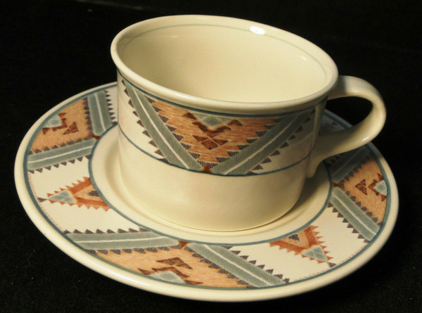 Mikasa Santa FE Tea Cup Saucer Set CAC24 Intaglio Southwest | DR Vintage Dinnerware and Replacements