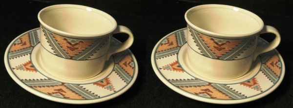 Mikasa Santa FE Tea Cup Saucer Sets CAC24 Intaglio Southwest 2 | DR Vintage Dinnerware and Replacements