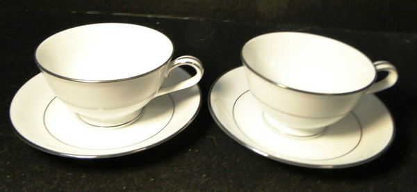 Noritake Envoy Tea Cup Saucer Sets 6325 White Platinum Trim 2 | DR Vintage Dinnerware and Replacements