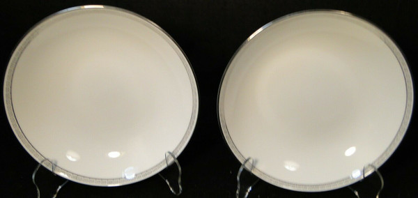 "Noritake Silver Key Coupe Soup Bowls 7 3/8"" 5941 Salad Set of 2 