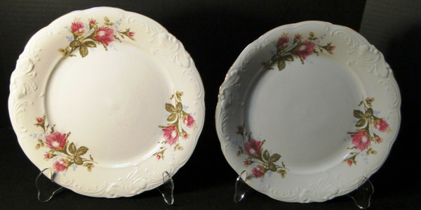 """Wawel Moss Rose Dinner Plates 10 1/2"""" Poland Gold Trim Set of 2   DR Vintage Dinnerware and Replacements"""
