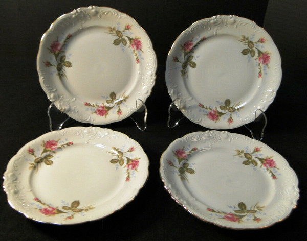 """Wawel Moss Rose Bread Plates 6 3/4"""" Poland Gold Trim Set of 4 