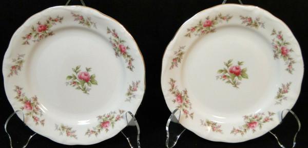"Johann Haviland Bavaria Moss Rose Bread Plates 6 1/4"" Fruit Set of 2   DR Vintage Dinnerware and Replacements"