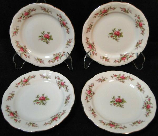 "Johann Haviland Bavaria Moss Rose Bread Plates 6 1/4"" Fruit Set of 4   DR Vintage Dinnerware and Replacements"