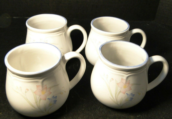 French Garden Coffee Mugs Cups Genuine Stoneware Thailand Set of 4 | DR Vintage Dinnerware and Replacements