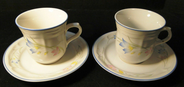 French Garden Tea Cup Saucer Sets Genuine Stoneware Thailand 2   DR Vintage Dinnerware and Replacements