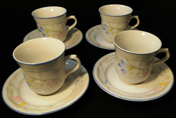 French Garden Tea Cup Saucer Sets Genuine Stoneware Thailand 4 | DR Vintage Dinnerware and Replacements