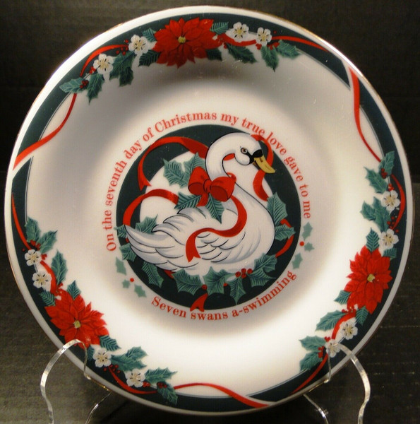 """Tienshan Deck the Halls Salad Plates 7 1/2"""" 12 Days of X-Mas 7 Swans Swimming 