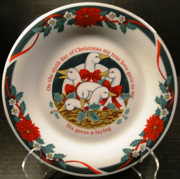 """Tienshan Deck the Halls Salad Plates 7 1/2"""" 12 Days of X-Mas 6 Geese Laying 