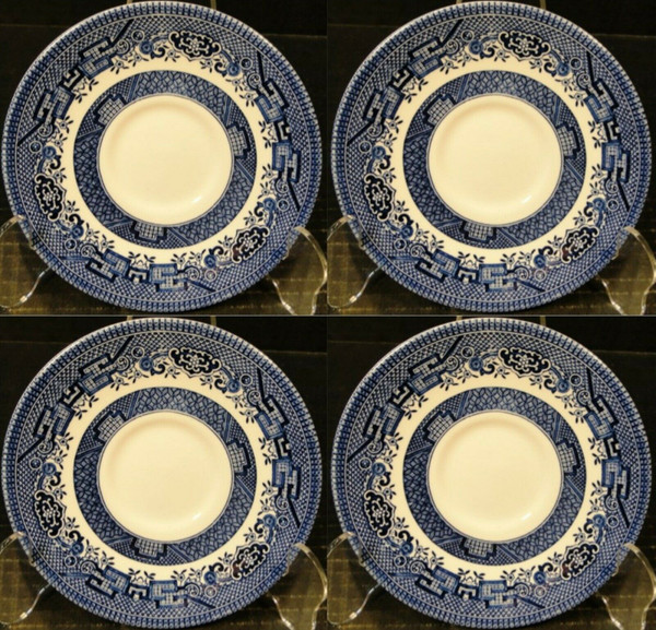 """Churchill Blue Willow Saucers 5 5/8"""" England Set of 4 