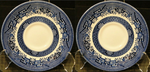 "Churchill Blue Willow Saucers 5 5/8"" England Set of 2 