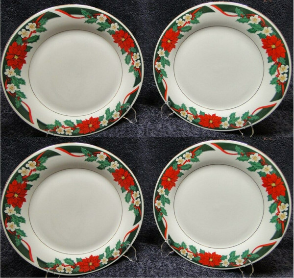 """Tienshan Deck the Halls Dinner Plates 10 5/8"""" Christmas Set of 4 