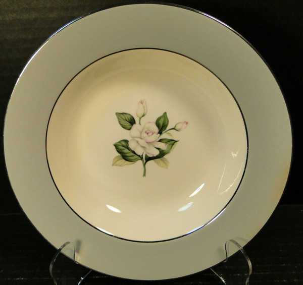 """Homer Laughlin HLC342 Soup Bowl 8 1/4"""" Grey Band Pink Flowers 