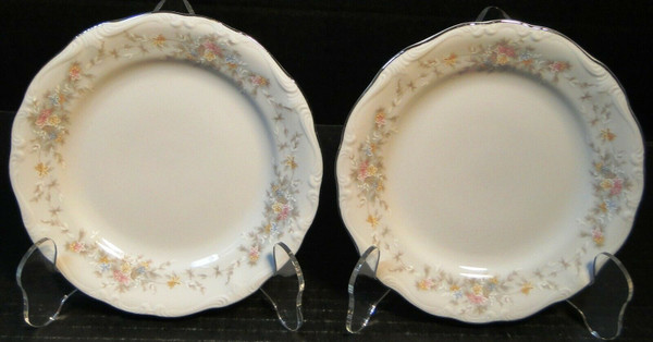 "Johann Haviland Floral Splendor Bread Plates 6"" Bavarian Set of 2 