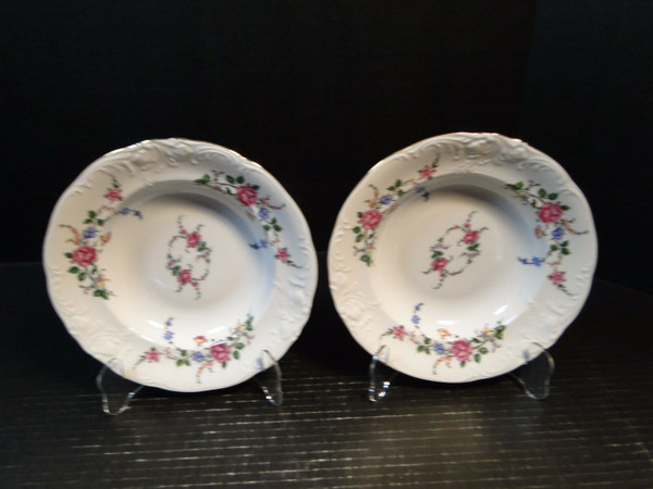 """Royal Kent Poland RKT3 Pink Roses Soup Bowls 8"""" Set of 2   DR Vintage Dinnerware and Replacements"""
