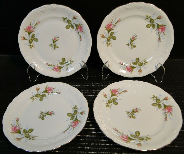 """Royal Kent Poland Moss Rose RKT8 Dessert Pie Plates 6 7/8"""" Set of 4 
