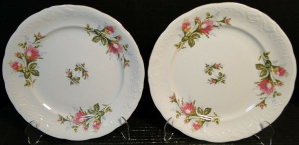 """Royal Kent Poland Moss Rose RKT8 Dinner Plates 10"""" Set of 2   DR Vintage Dinnerware and Replacements"""