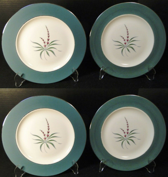"""Homer Laughlin Cavalier Lupine Dinner Plates 10 1/4"""" Green Band Set 4 