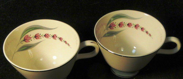 Homer Laughlin Cavalier Lupine Tea Cups Green Band Set of 2 | DR Vintage Dinnerware and Replacements