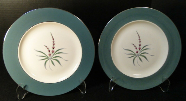 """Homer Laughlin Cavalier Lupine Dinner Plates 10 1/4"""" Green Band Set 2 
