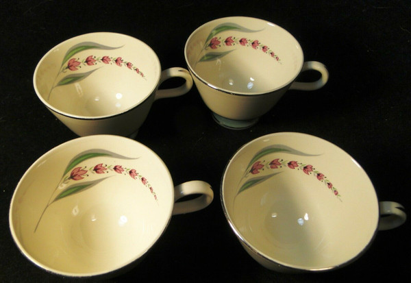 Homer Laughlin Cavalier Lupine Tea Cups Green Band Set of 4   DR Vintage Dinnerware and Replacements