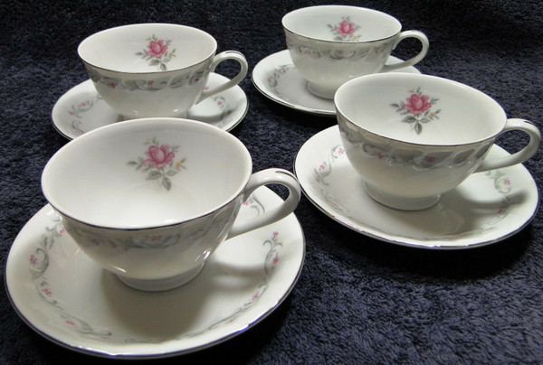 Fine China of Japan Royal Swirl Tea Cup Saucer Sets 4 | DR Vintage Dinnerware Replacements
