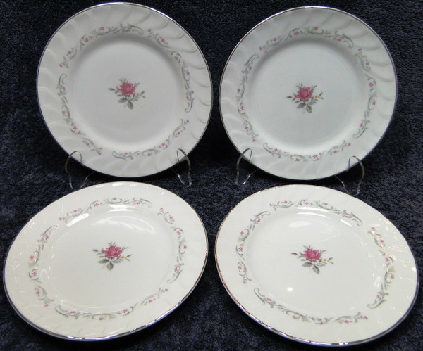 """Fine China of Japan Royal Swirl Bread Plates 6 3/8"""" Set of 4 