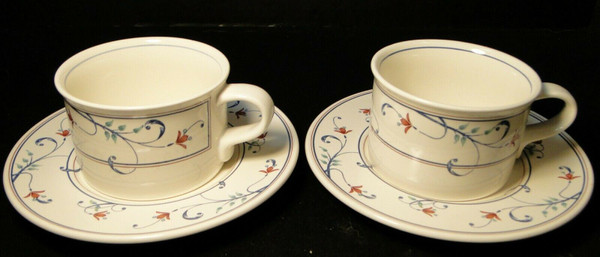 Mikasa Intaglio Annette Mugs Cups Saucers CAC20 Set of 2 | DR Vintage Dinnerware and Replacements