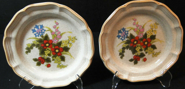 """Mikasa Basket of Wildflowers Salad Plates 8"""" EC 403 Set of 2 