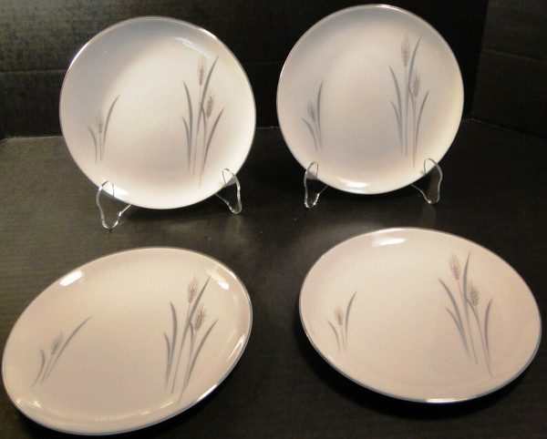 """Fine China of Japan Platinum Wheat Salad Plates 7 5/8"""" Set of 4 