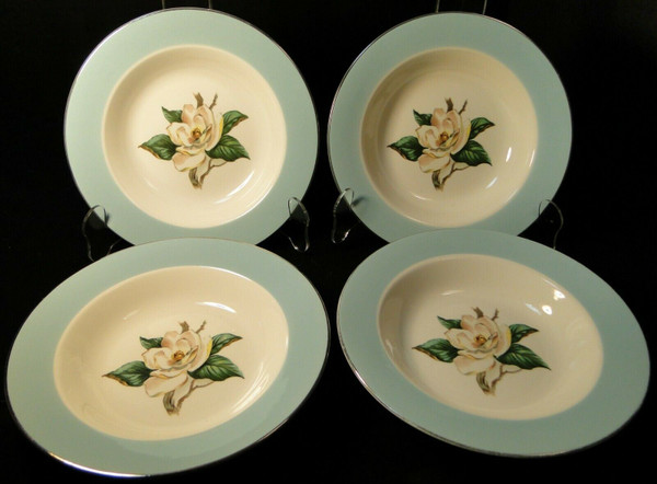 """Lifetime China Turquoise Magnolia Soup Bowls 8"""" Cavalier Salad Set 4 