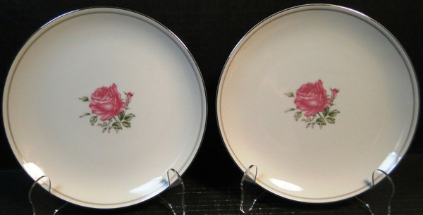 """Fine China of Japan Imperial Rose Salad Plates 7 7/8"""" Set of 2 