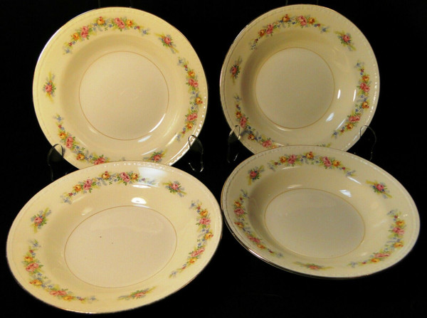 "Homer Laughlin Georgian G3523 Soup Bowls 8 1/4"" Pink Roses Set of 4 