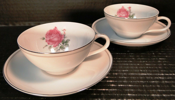 Fine China of Japan Imperial Rose Tea Cup Saucer Sets 2 | DR Vintage Dinnerware Replacements